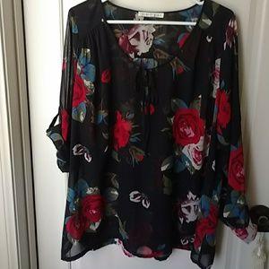 Daniel Rainn Black Sheer Floral Blouse 2X 3X